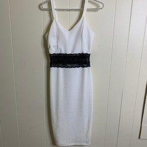 Love J Bodycon Midi Dress White Black Lace Medium